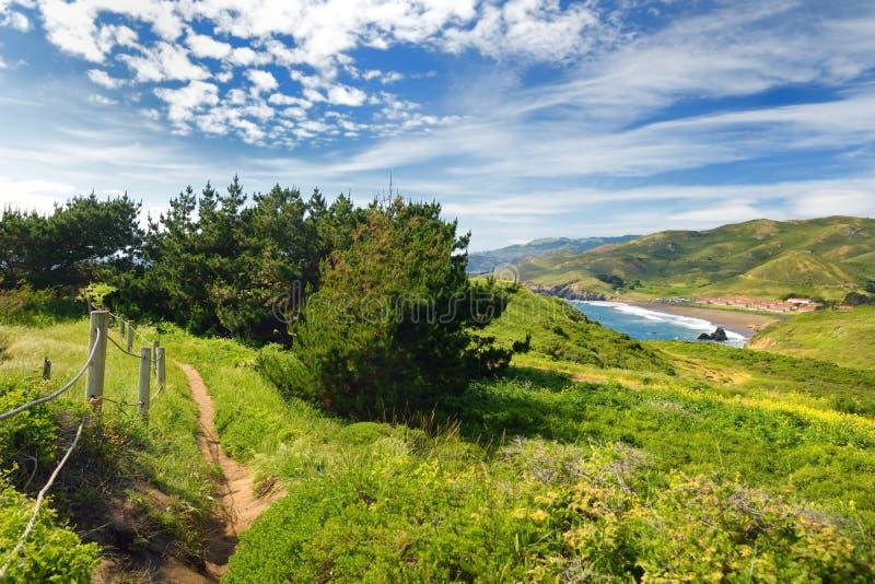 Groene weiden en mening van de Vreedzame Oceaan op Punt Bonita, Californië royalty-vrije stock fotografie