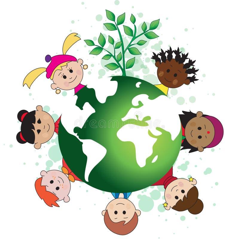 Groene wereld met kinderen stock illustratie