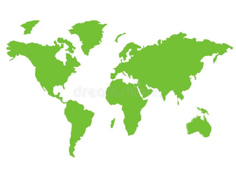 Groene Wereldkaart die milieu globale doelstellingen vertegenwoordigen - kaartbeeld dat op een witte achtergrond wordt geïsoleerd stock illustratie