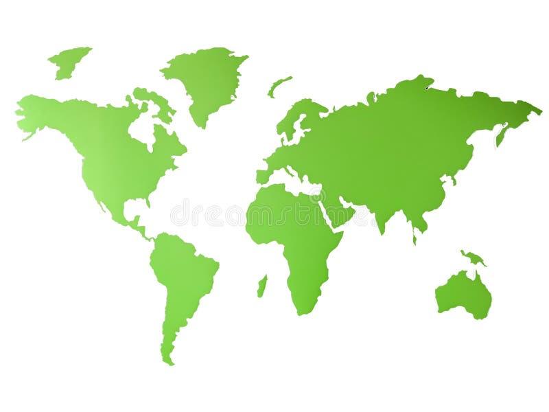 Groene Wereldkaart die milieu globale die doelstellingen vertegenwoordigen - kaartbeeld op een witte achtergrond wordt geïsoleerd stock afbeeldingen