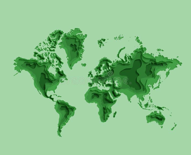 Groene wereldkaart met continenten en vasteland stock illustratie