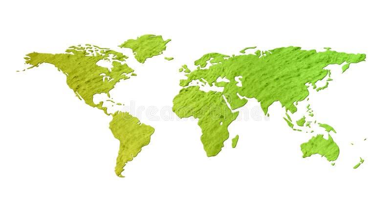 Groene wereldkaart met natuurlijke geïsoleerdej textuur - stock illustratie