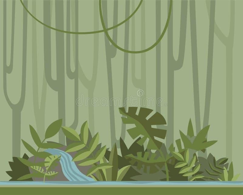 Groene wildernis bosachtergrond, vectorillustratie royalty-vrije illustratie