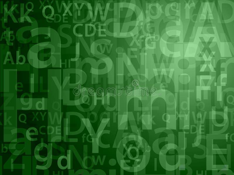 Groene willekeurige brieven stock illustratie