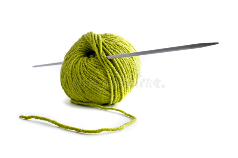 Groene wol en naald royalty-vrije stock foto