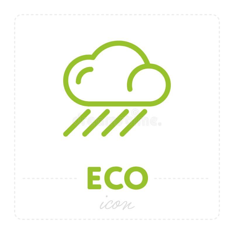 Groene wolk met regen in pictogram royalty-vrije illustratie