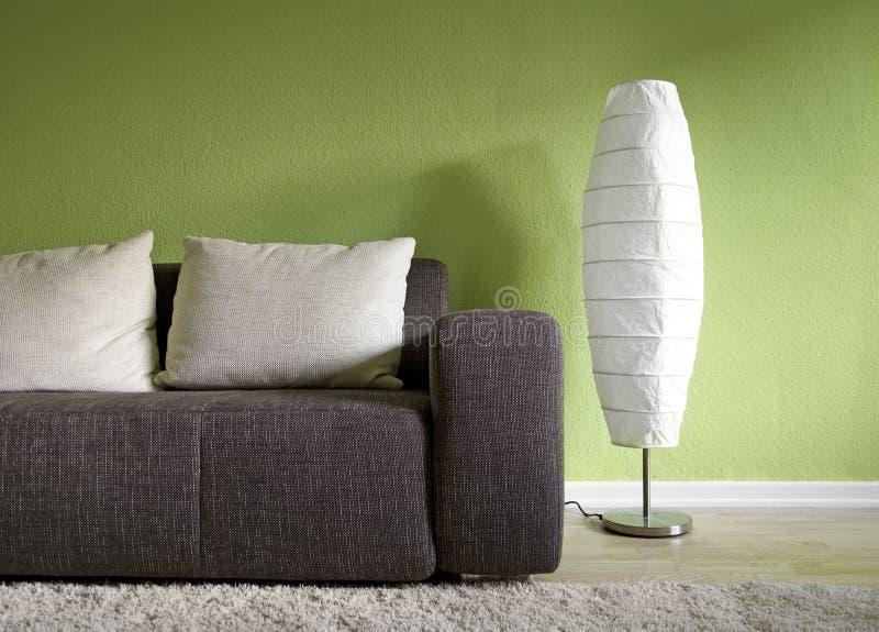 Groene woonkamer stock afbeelding