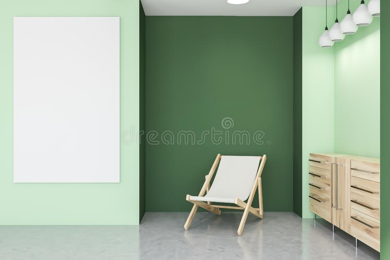 Groene woonkamer, leunstoel, kabinet en affiche vector illustratie