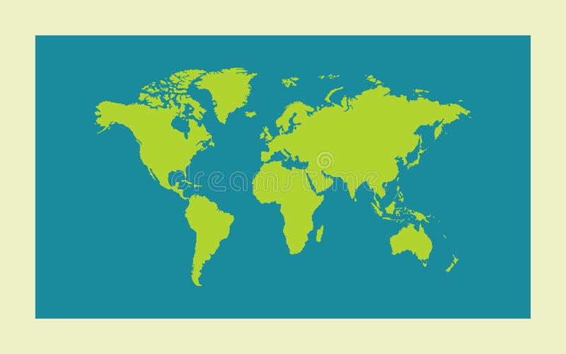 Groene Worl-kaart op blauwe achtergrond Vector illustratie stock illustratie