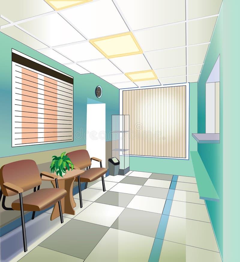 Groene zaal van het ziekenhuis royalty-vrije illustratie