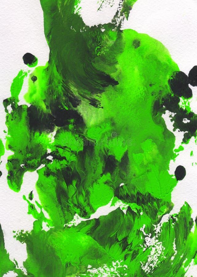 Groene, zwart-witte abstracte hand geschilderde achtergrond royalty-vrije illustratie
