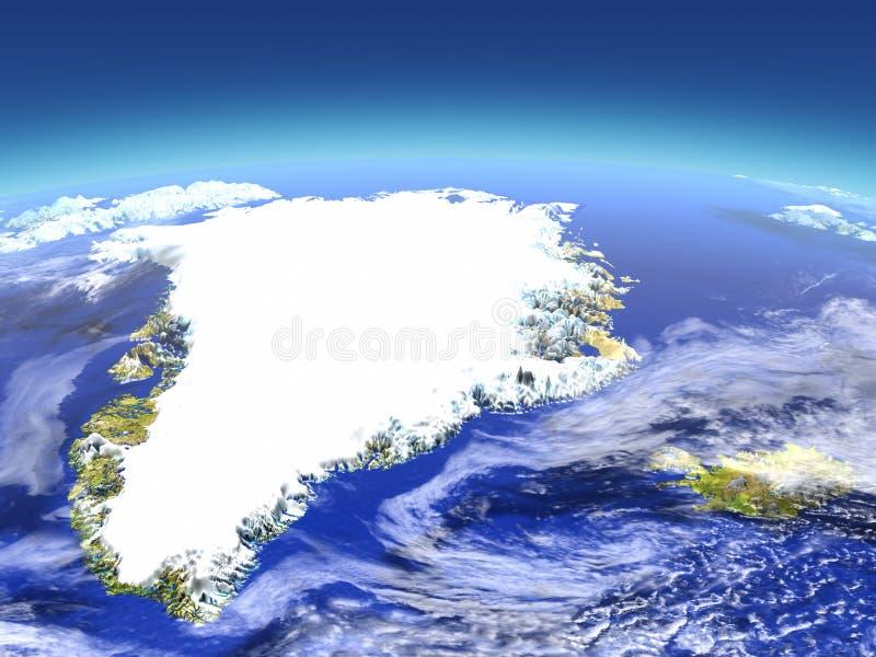 Groenland en IJsland van ruimte royalty-vrije illustratie