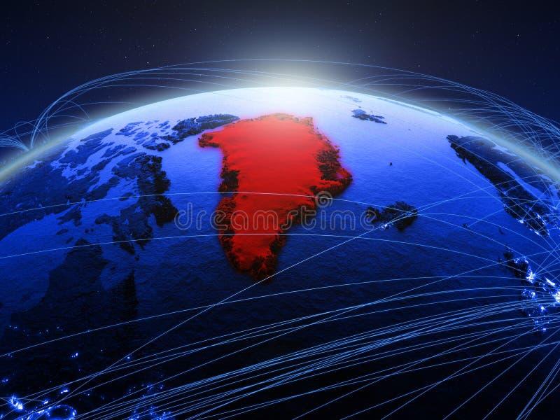 Groenland op blauwe digitale aarde met internationaal netwerk die mededeling, reis en verbindingen vertegenwoordigen 3d royalty-vrije stock afbeeldingen
