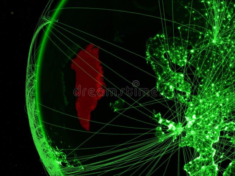 Groenland van ruimte op groen model van Aarde met internationale netwerken Concept groene mededeling of reis 3d royalty-vrije stock afbeelding