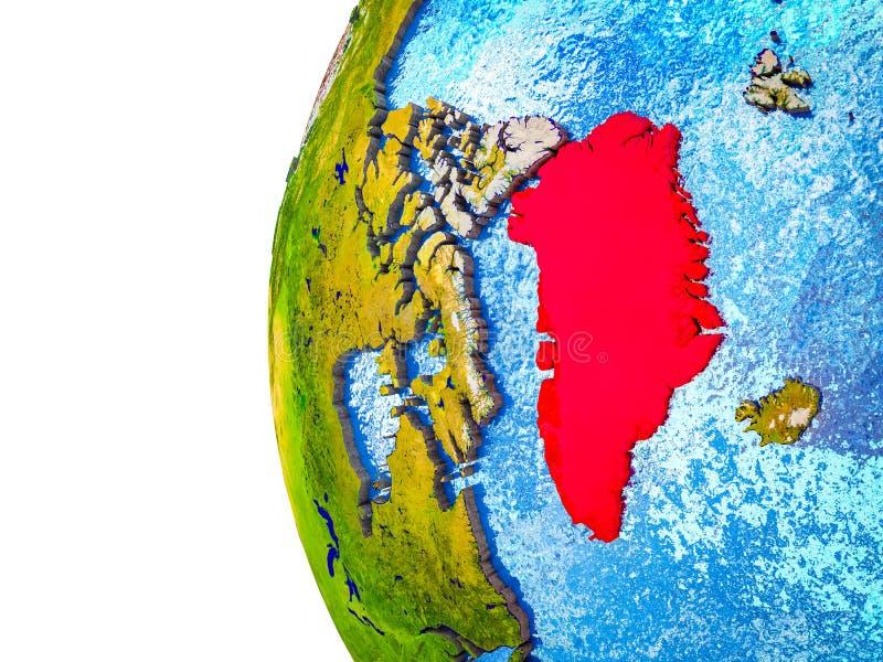 Groenlandia en la tierra 3D stock de ilustración