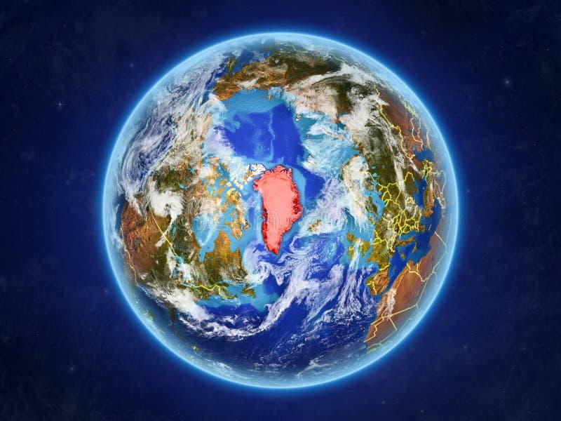Groenlandia en la tierra del espacio stock de ilustración