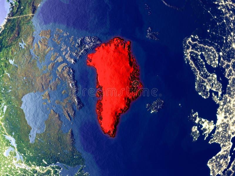 Groenlandia en la tierra en la noche stock de ilustración