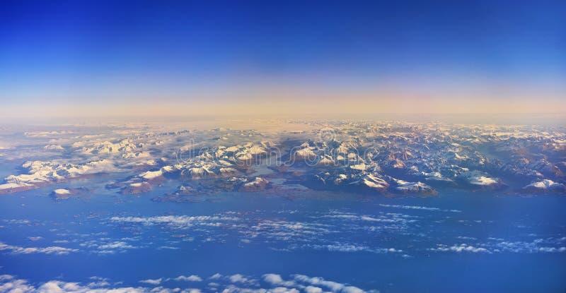 Groenlandia vista de un avión arriba imagen de archivo
