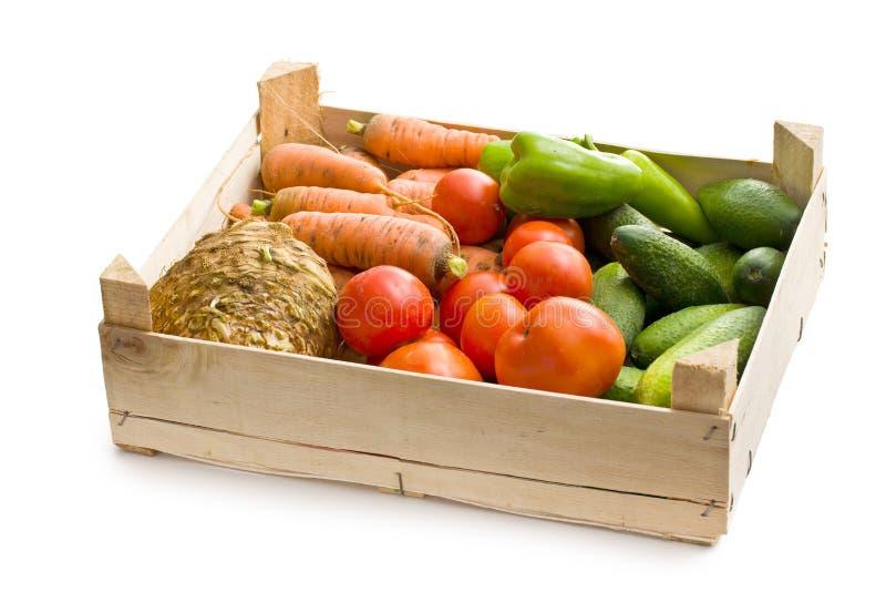 Groente in houten doos royalty-vrije stock foto's