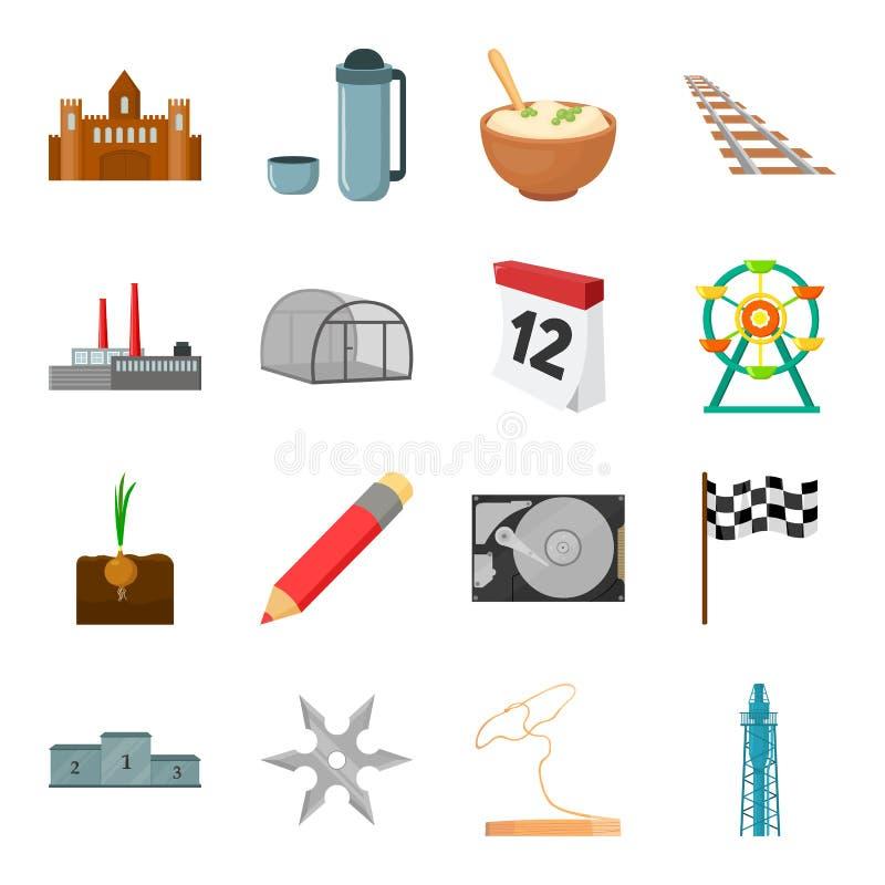 Groente, onderwijs, vervoer en ander Webpictogram in beeldverhaalstijl Machines, fitness, sportenpictogrammen in reeks vector illustratie