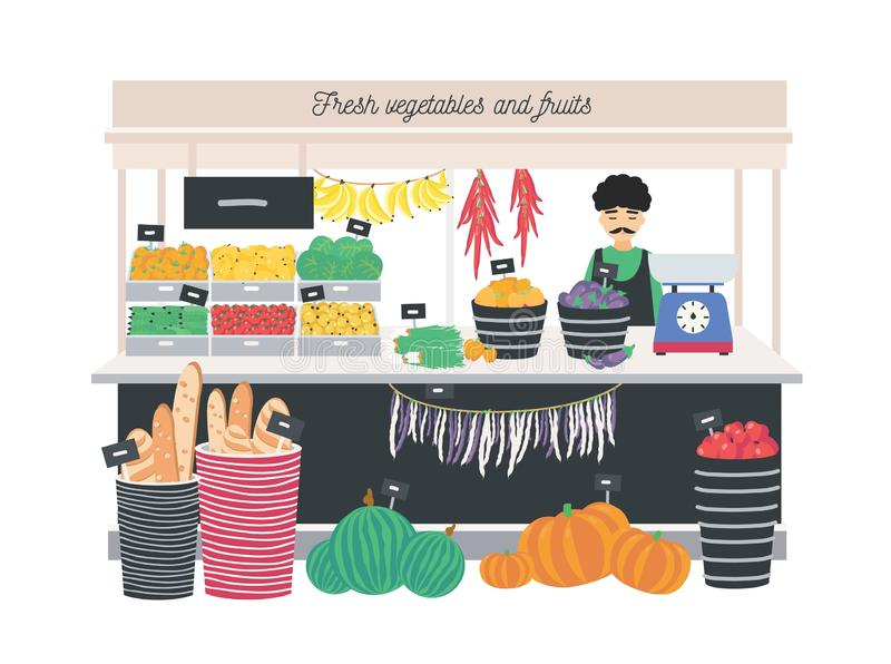 Groentehandelaarverkoper die zich bij teller, box of kiosk met schalen, vruchten, groenten en brood bevinden Kruidenierswinkelwin vector illustratie