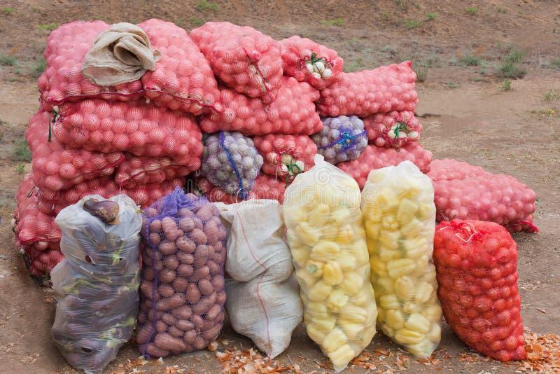 Groenten die in zakken worden ingepakt stock foto