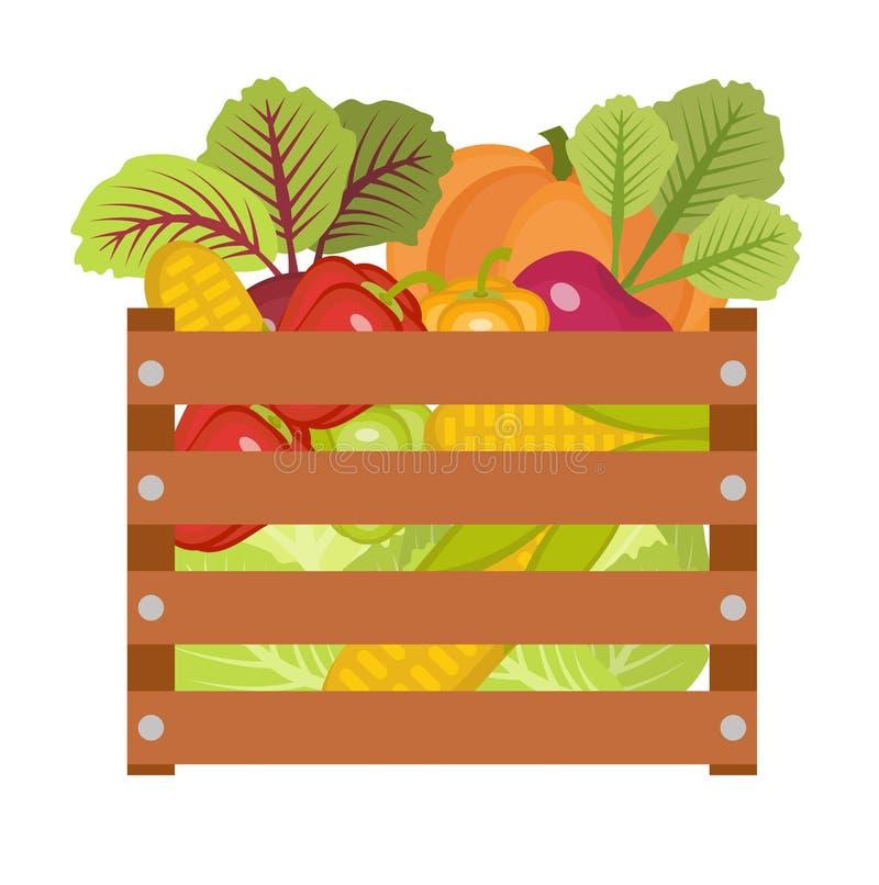 Groenten in een houten doospictogram Vector illustratie royalty-vrije illustratie