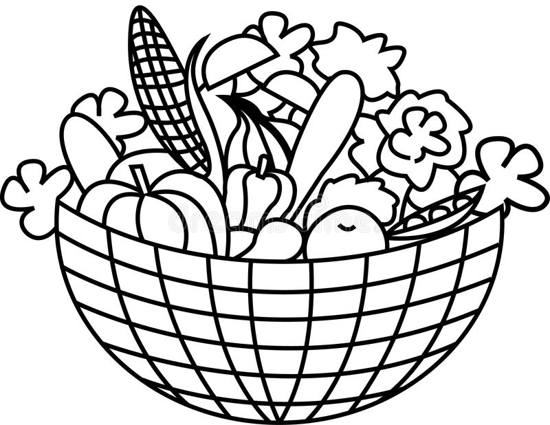 Groenten in een mand royalty-vrije illustratie