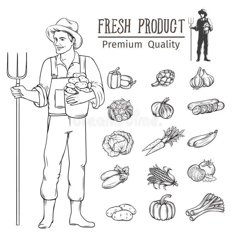 Groenten en landbouwer FO stock illustratie