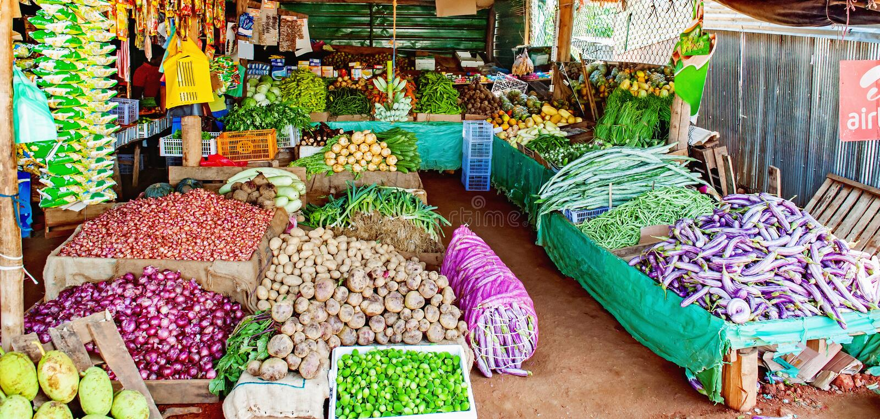 Groenten en Vruchten stock fotografie