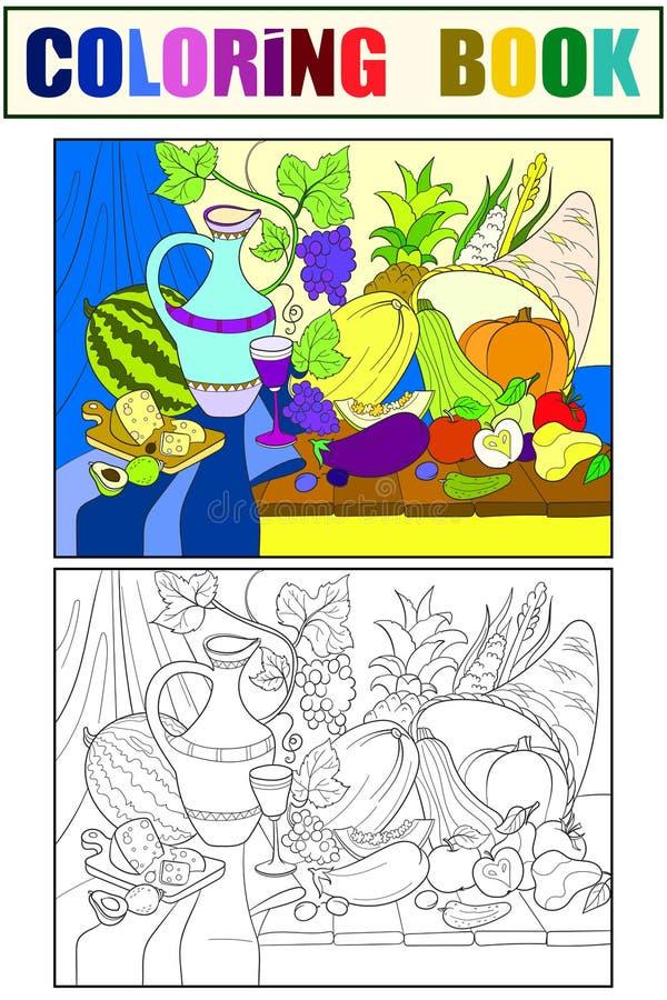 Groenten en vruchten de roosterillustratie van de oogststijl Thanksgiving day stilleven Oude gravureimitatie stock illustratie