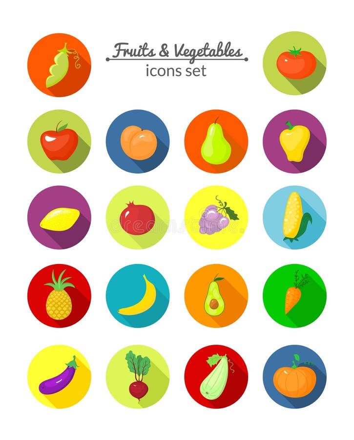 Groenten en vruchten vector ronde pictogrammen stock illustratie