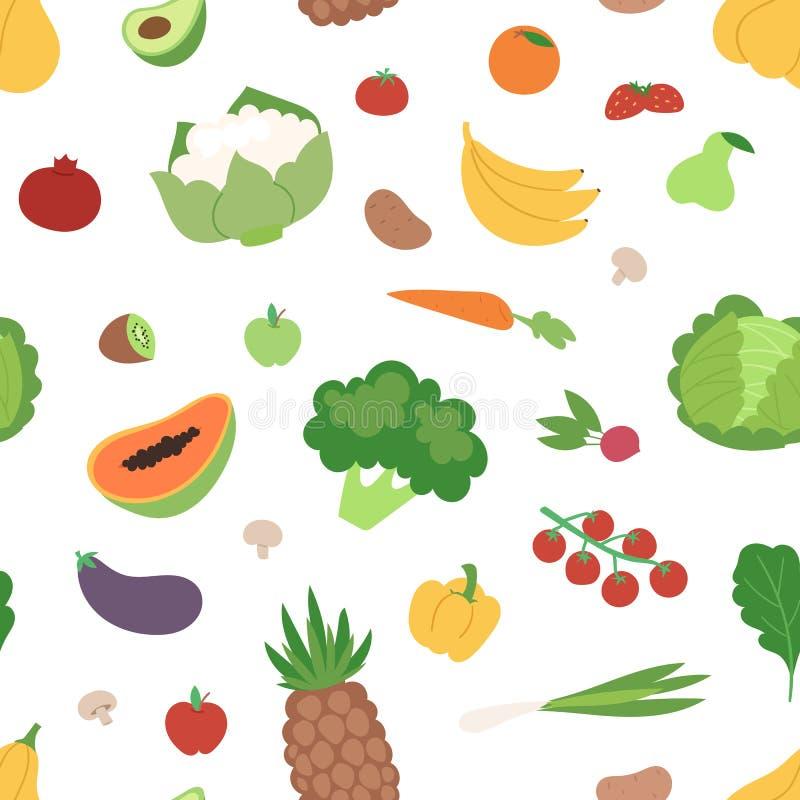 Groenten en vruchten vlakke naadloze de veganist verse organische vectorillustratie van het patroon gezonde vegetarische voedsel royalty-vrije illustratie