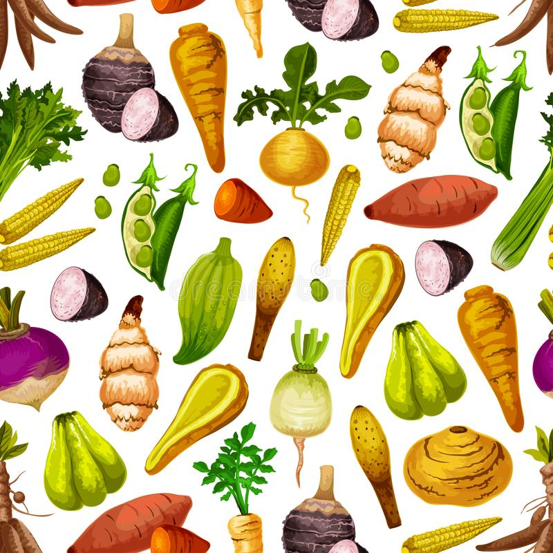 Groenten en wortels vector naadloos patroon stock illustratie