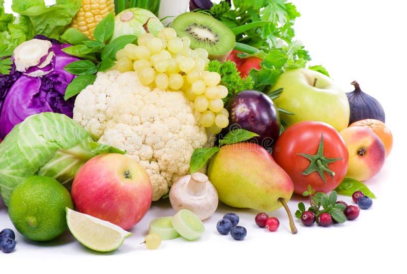Groenten, fruit, kruidige kruiden en bes stock afbeelding