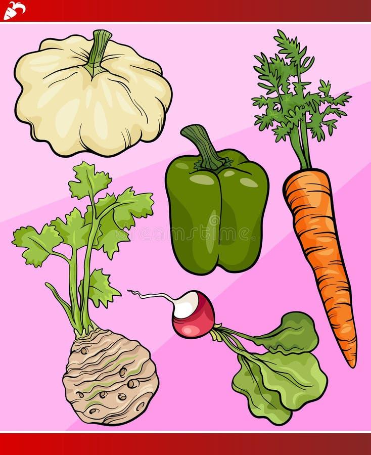 Groenten geplaatst beeldverhaalillustratie vector illustratie