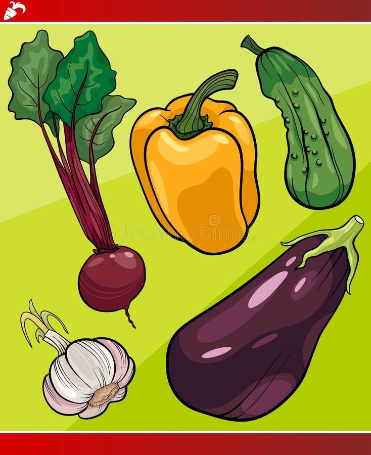 Groenten geplaatst beeldverhaalillustratie stock illustratie