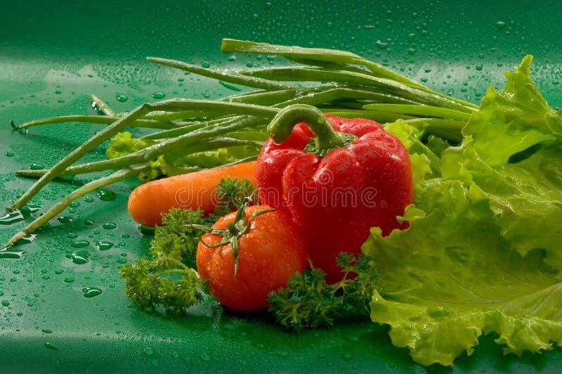 Groenten - gewassen wortelen, tomaten, rode groene paprika's, paprika, sla, peterselie, groene uien stock fotografie