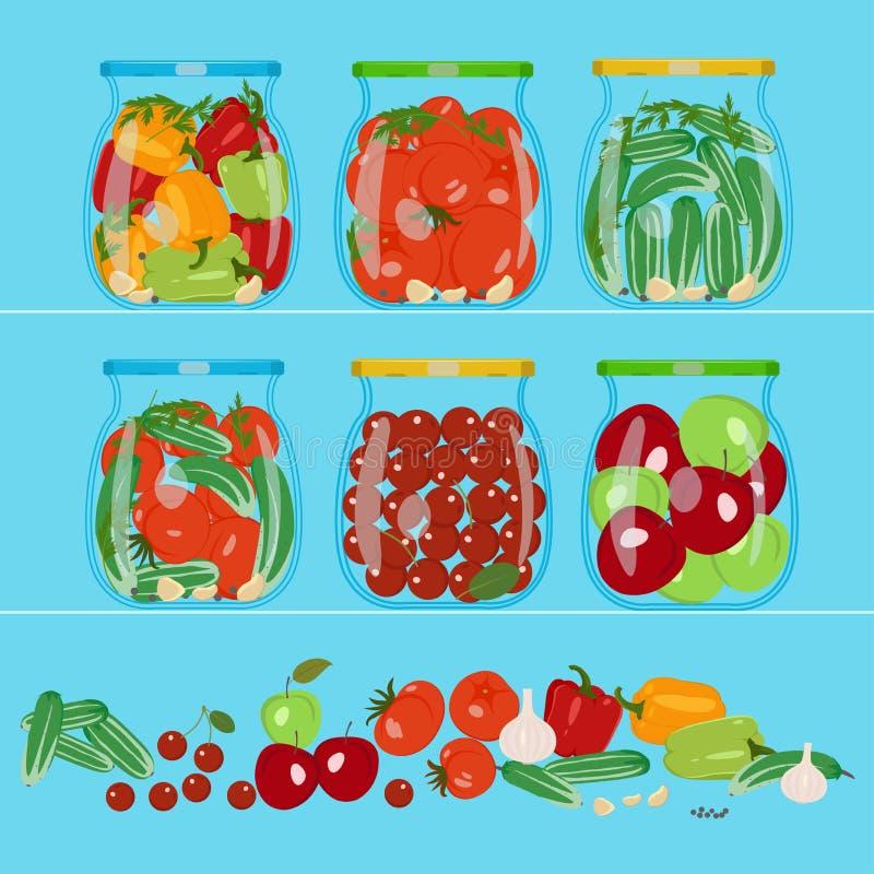 Groenten in glaskruiken Vector illustratie stock illustratie