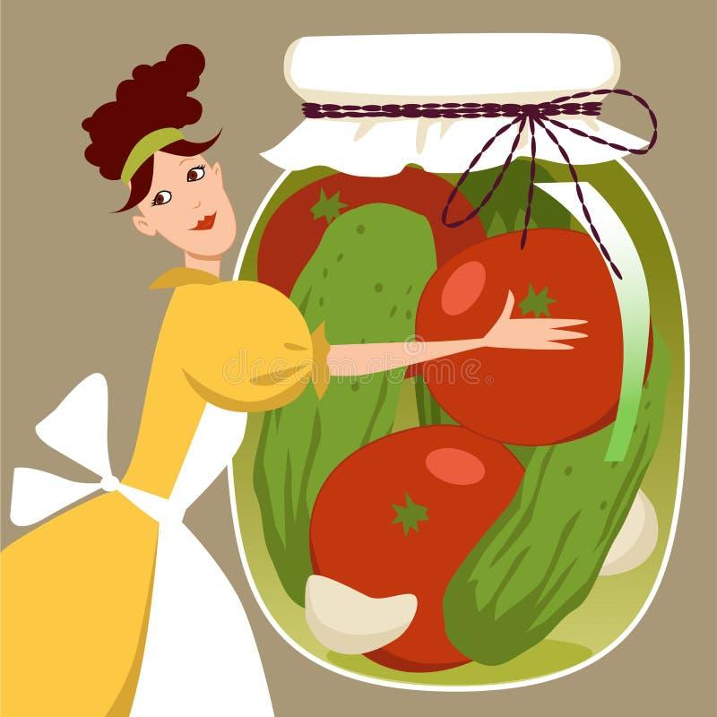 Groenten in het zuur royalty-vrije illustratie