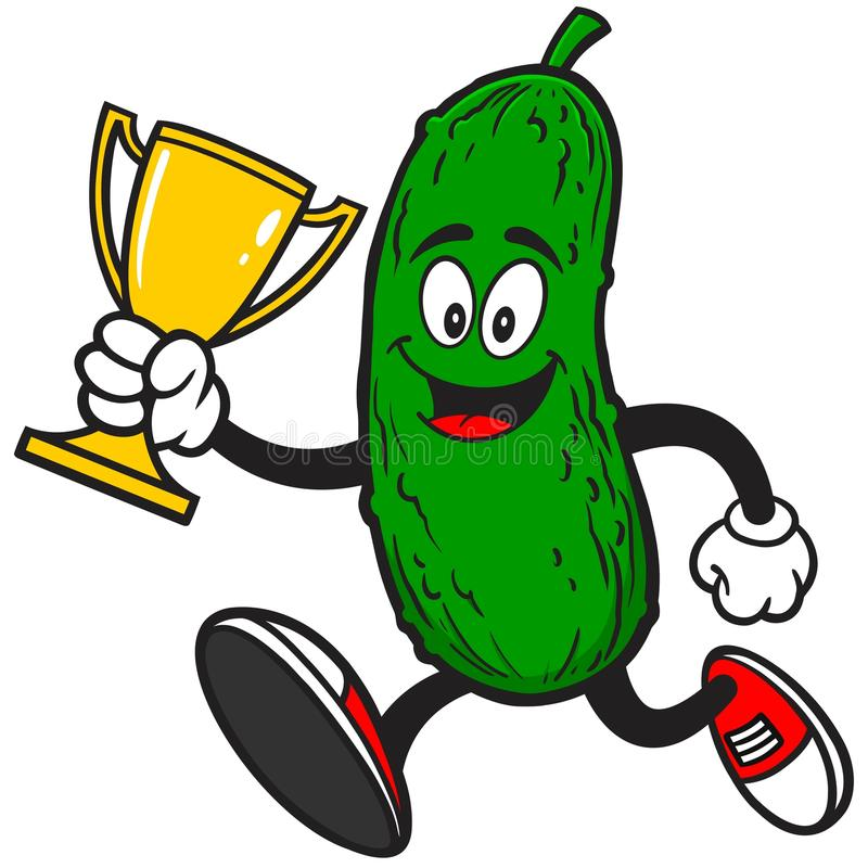 Groenten in het zuur die met Trofee lopen vector illustratie
