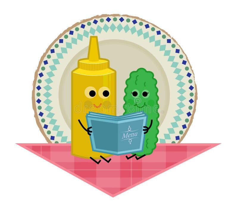 Groenten in het zuur en Mosterd royalty-vrije illustratie