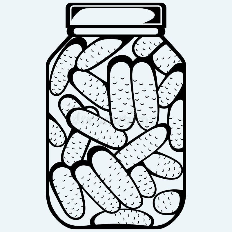 Groenten in het zuurbank Bewaarde komkommers in een kruik vector illustratie