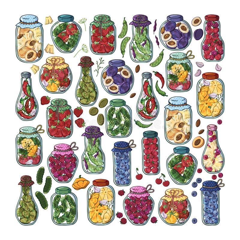 Groenten in het zuurkruiken vector illustratie