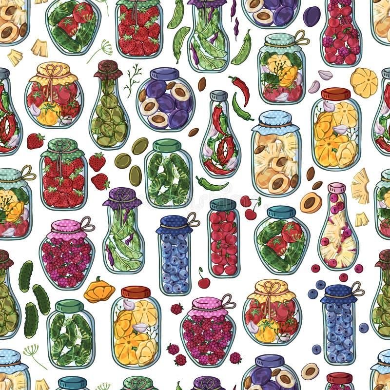 Groenten in het zuurkruiken royalty-vrije illustratie