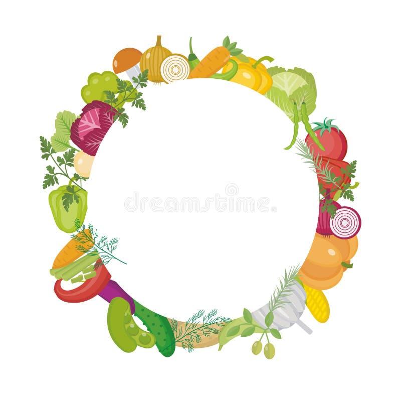 Groenten om kader met ruimte voor tekst Vlakke stijl Op witte achtergrond Gezonde levensstijl, veganist vector illustratie