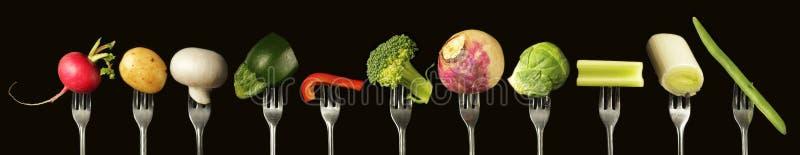 Groenten op vork vector illustratie