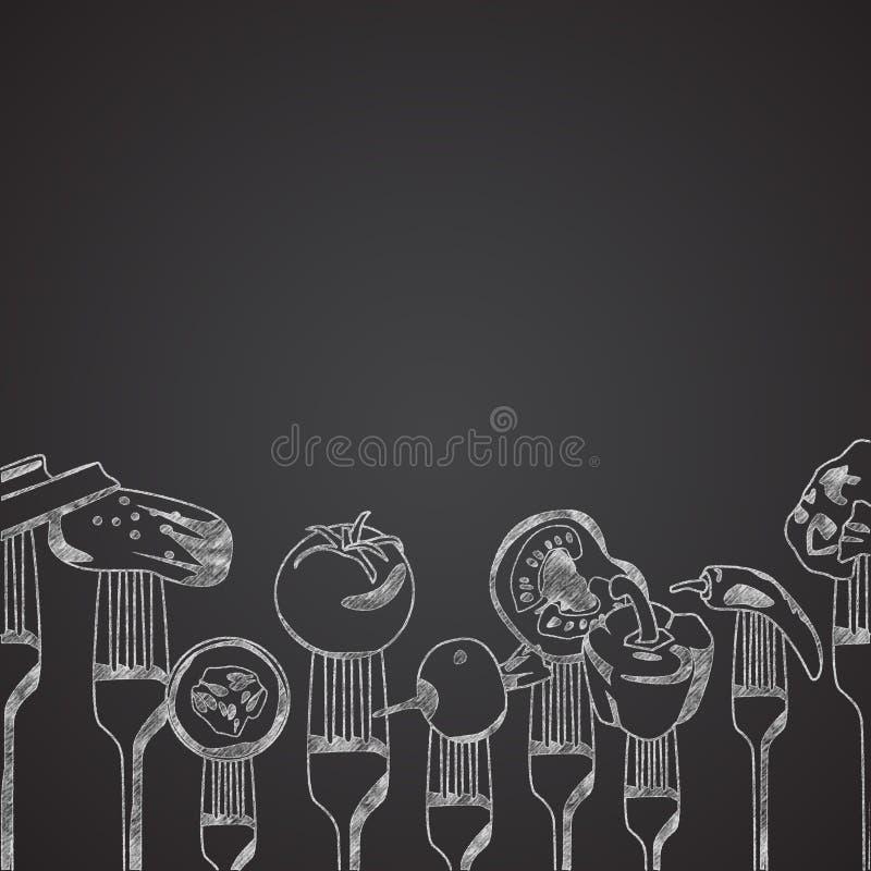 Groenten op vorken op bord worden getrokken dat royalty-vrije illustratie