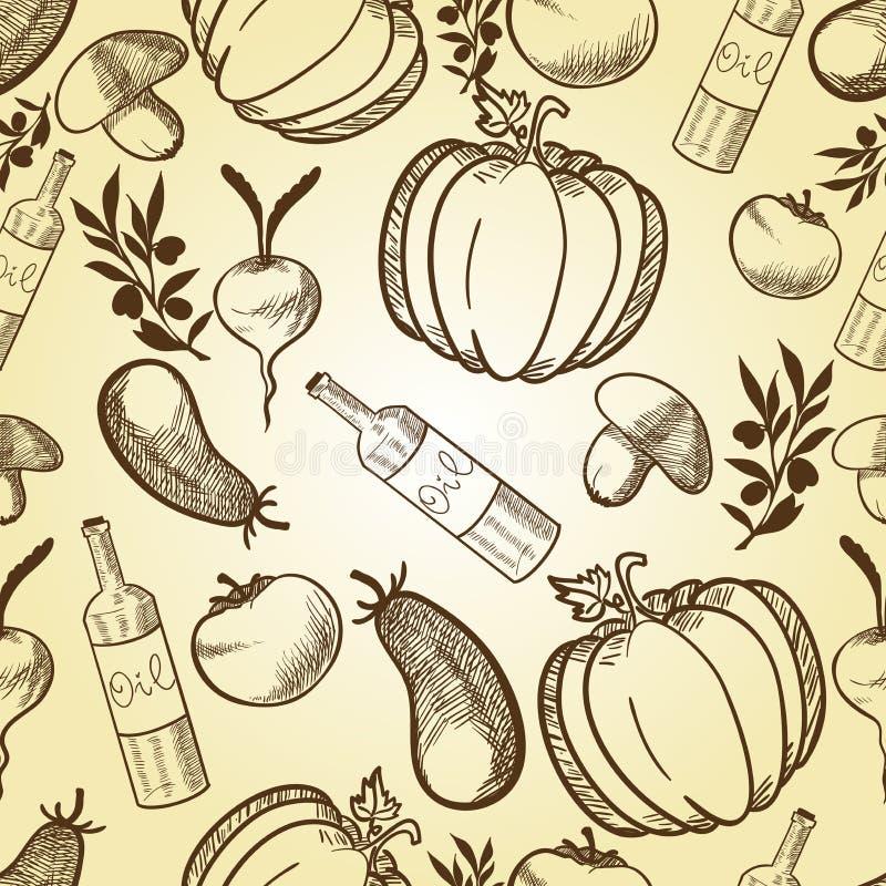 Groenten in retro stijl naadloos patroon vector illustratie