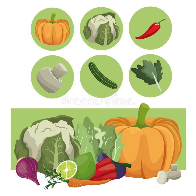 Groenten verse ruwe ingrediënten stock illustratie